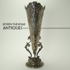 Solid Sterling Repoussé Bud Vase with Angels, Man of The North, Wild Birds and Fairies