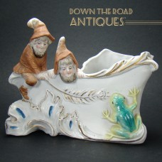 Bisque Planter with Elves and Frogs