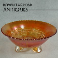 Marigold Carnival Glass Bowl with Grape and Leaf Pattern