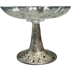 German Candy Dish Compote - Cut Glass and Sterling Repoussé - 1900's