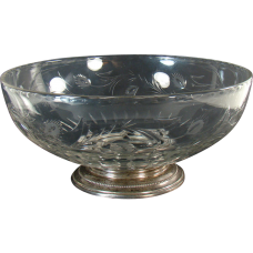 Cut Glass Bowl with Sterling Base - 1910