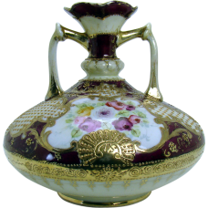 Nippon Porcelain Two-Handled Vase with Roses and Gold  Bead-work