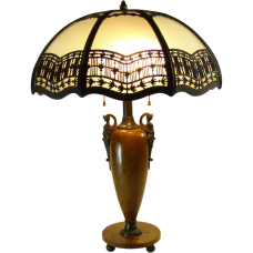 Bradley & Hubbard Table Lamp with Satin Glass Bent Panel Shade -   1920's