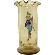 Amber Glass Vase with Chubby Man - Enameled, Ruffled and Ribbed - 1880's