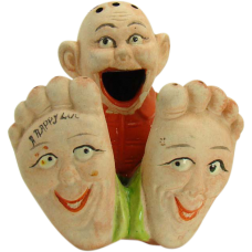 Hand-Painted Bisque Incense Burner - Funny Face - 1920's