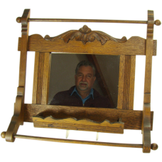 Chestnut Brush and Towel Rack with Mirror - 1880's