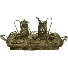 Miniature Silver Tea Set and Tray in Filigree - 1910