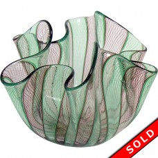 Murano Latticino Venini Glass Handkerchief Vase (SOLD)