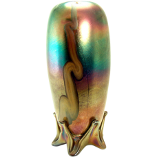 Iridescent Art Glass Footed Vase - 1910