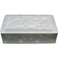 Consolidated Glass Dresser Box with Divided Interior and Molded Birds