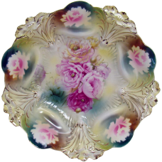R. S. Prussia Hand-Painted Porcelain Bowl with Roses