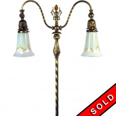 Double Arm Floor Lamp with Steuben Shades, Porcelain Flowers and Cut Glass Finial - 1920's (SOLD)