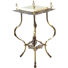 Iron and Brass Fern Stand Lamp Table - 1890's Victorian