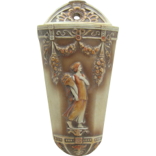Jasperware Bisque Wall Pocket with Figural Art Deco Woman - 1920's