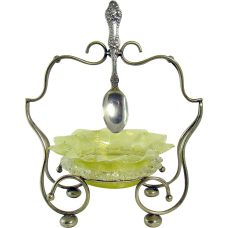 Silver Plated Art Glass Condiment Holder with Spoon