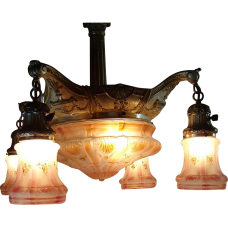 Ornate Silver Plated Chandelier with Five Pink Satin Glass Shades - 1920's