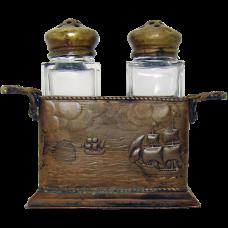 Arts & Crafts Salt & Pepper Shakers with Nautical Bronze/Brass Holder - 1910