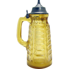 Paneled Amber Glass Syrup Pitcher with Pewter Top - 1880's
