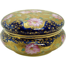 Hand-Painted Nippon Porcelain Dresser Dish with Lid - 1920's