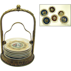 Gilt Bronze Painted Porcelain Coaster Set - 1910