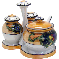 Six-Piece Noritake Lusterware Porcelain Condiment Set