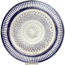 Cut Glass Plate with Reticulated Sterling Overlay - 1880's