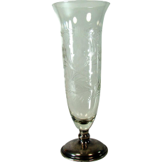 Pairpoint Cut Glass Vase with Sterling Base
