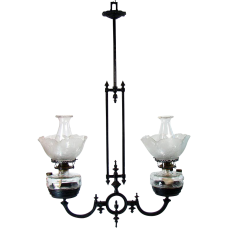 Fancy Iron Hanging Light Fixture - 1880's Victorian