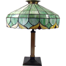Large All-Original Art Nouveau Leaded Table Lamp - 1910
