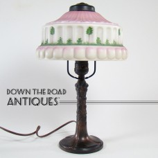 Pittsburgh Obverse-Painted Boudoir Lamp with Tree Design - 1920's