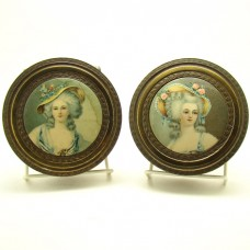 Brass/Bronze Portrait Vanity Boxes - Matching Set - 1930's