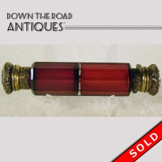 Cut Ruby Glass Double Perfume Bottle - 1880's (SOLD)