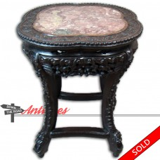 Carved Chinese Table with Pink Marble Insert - 1880's (SOLD)