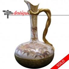 Royal Doulton Porcelain Vase - Burslem Enameled Snake-Entwined Handled (SOLD)