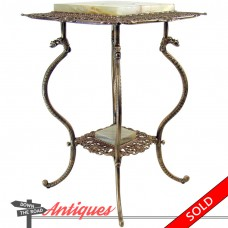 Iron Plant Stand with Onyx Inserts and Gargoyle Legs - 1880's (SOLD)