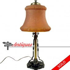 Pittsburgh Table Lamp with Burnt Orange Stretch Glass Linen Fold Shade - Arts &  Crafts (SOLD)