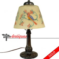 Electric Boudoir Lamp with Blown-Out Reverse-Painted Parrot Shade - 1920's (SOLD)
