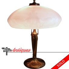 Pittsburgh Electric Table Lamp with Acid Cut-back Shade - 1920's (SOLD)
