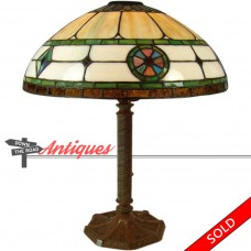 Electric Table Lamp with Pinwheel and Diamond Leaded Glass Shade - 1920's (SOLD)
