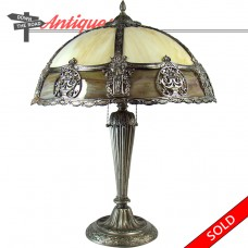Silver Plated Electric Table Lamp with Bent Glass Shade - 1920's (SOLD)