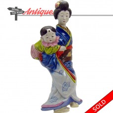 Japanese Porcelain Geisha Wall Pocket with Baby (SOLD)