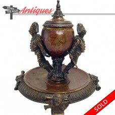 Bronze Figural Ink Well with Soldiers - c. 1870's (SOLD)
