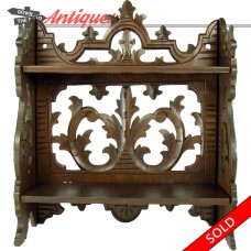 Carved Black Forest Walnut Folding Shelving Unit - 1890's (SOLD)