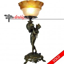 Portable Figural Gas Table Lamp with Etched Amber Shade - 1880's (SOLD)