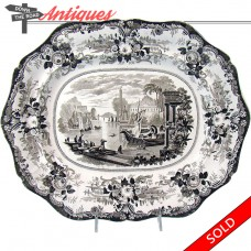 Brown Transferware Porcelain Platter - 1880's (SOLD)
