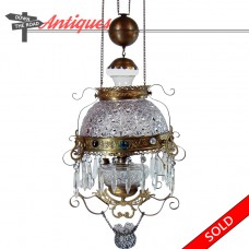 Early American Pressed Glass Hanging Library Lamp with Faceted Jewels - 1880's (SOLD)