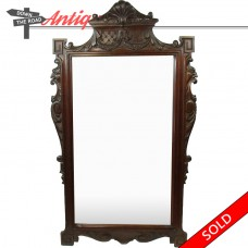 Solid Carved Black Walnut Mirror with Lion Heads - 1890's (SOLD)