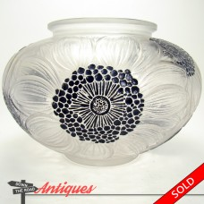 Signed R. Lalique Frosted Enameled Glass Vase with Dahlias  - 1920's (SOLD)