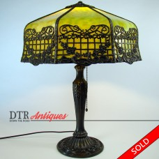 Filigreed Electric Table Lamp with Green Slag Glass Shade - 1920's (SOLD)
