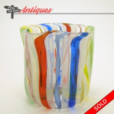 Murano Art Glass Toothpick Holder with Latticino and Lutz (SOLD)